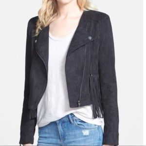 FATE Grey Faux Suede Moto Jacket with Fringe L